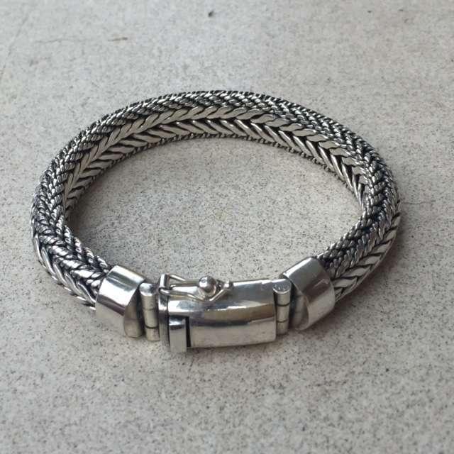 Br 12323 1 Pc Of 925 Bali Silver Men Bracelets 10 Mm 190