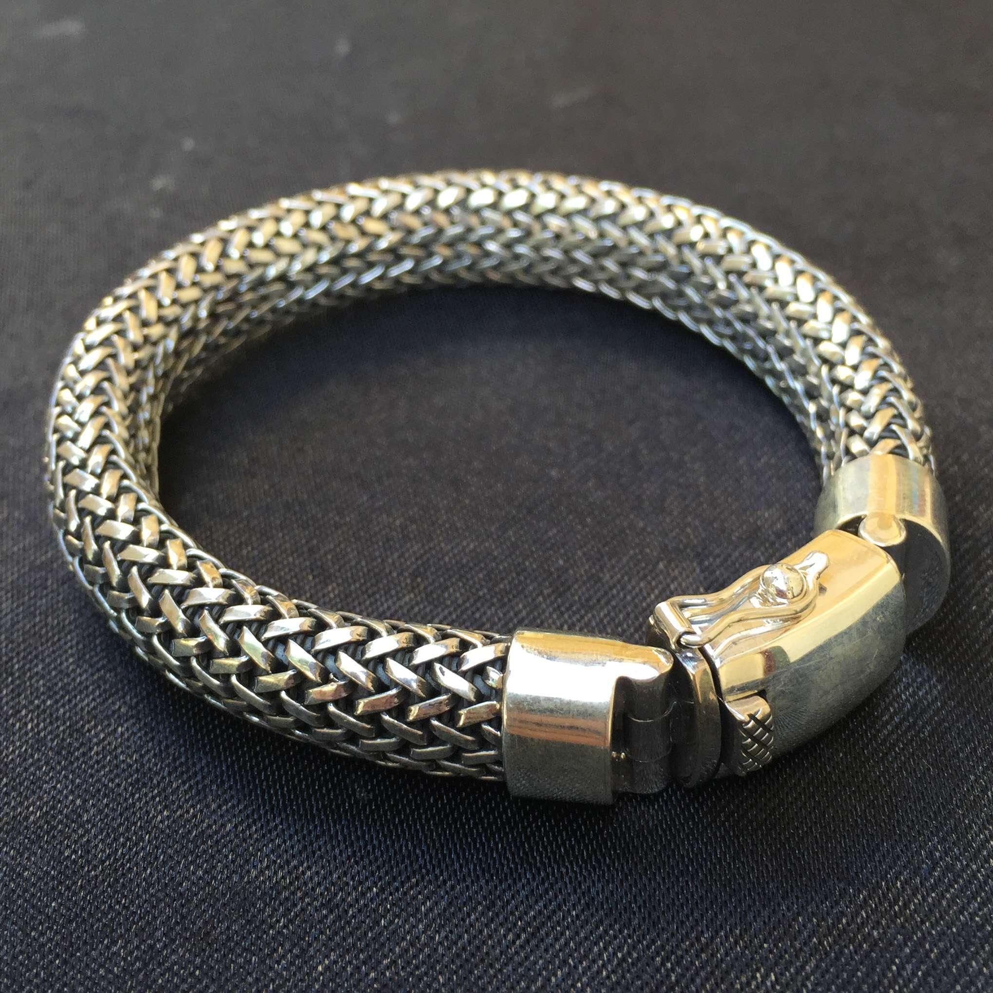 Br 12320 1 Pc Of Hand Weaving 925 Bali Silver Bracelets 10 Mm 210