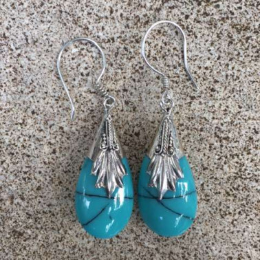 ER 01719 TQ-1 PC OF HAND CARVED 925 BALI SILVER EARRINGS WITH turqouise