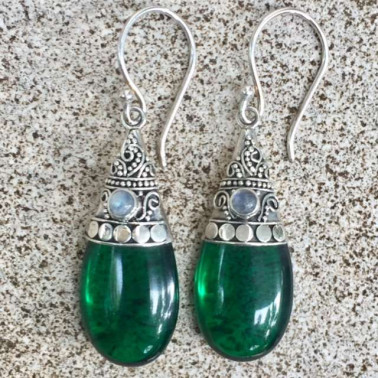 ER 10676 OB-1 PC OF HAND CARVED 925 BALI SILVER EARRINGS WITH GREEN OBSIDIAN