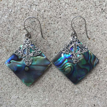 ER 12073 AB-1 PC OF HAND CARVED 925 BALI SILVER EARRINGS WITH ABALONE SHELL