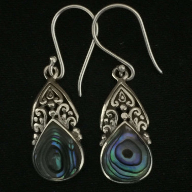 ER 13245 AB-1 pc of hand carved 925 Bali silver earrings with abalone