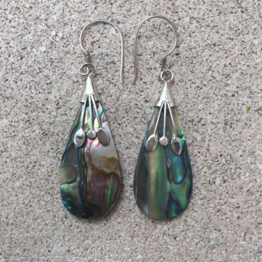 ER12513 AB-1 PC OF HAND CARVED 925 BALI SILVER EARRINGS WITH ABALONE SHELL