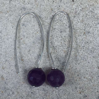 ER 08958 AM-1 PC OF HAND CARVED 925 BALI SILVER EARRINGS WITH PURPLE