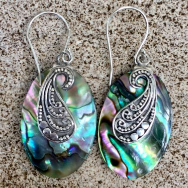 ER 12936 abalone shell-1 PC OF HAND CARVED 925 BALI SILVER EARRINGS WITH ABALONE SHELL