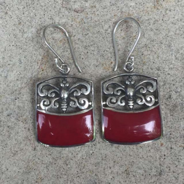 ER 13241 coral-1 PC OF HAND CARVED 925 BALI SILVER EARRINGS WITH CORAL