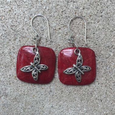 ER 11531 coral-1 PC OF HAND CARVED 925 BALI SILVER EARRINGS WITH CORA