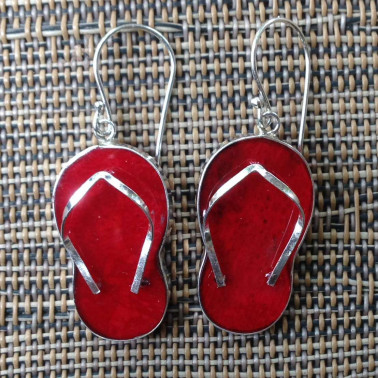 ER 08512 CR-1 pc of hand carved 925 Bali silver earrings with red coral