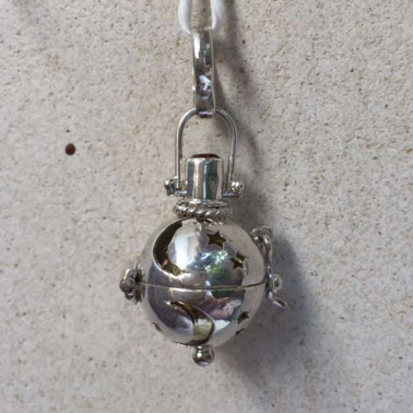 BD 12041-1 pc of 925 Bali Silver Harmony Ball Pendant