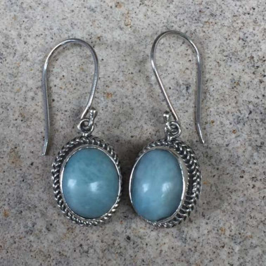 ER 12569 larimar-1 PC OF HAND CARVED 925 BALI SILVER EARRINGS WITH LARIMAR