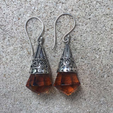 ER 12249 OB-1 PC OF HAND CARVED 925 BALI SILVER EARRINGS WITH BROWN OBSIDIAN
