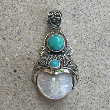 PD 11488-1 PC OF 925 BALI SILVER SHELL FACE PENDANT With Gemstone