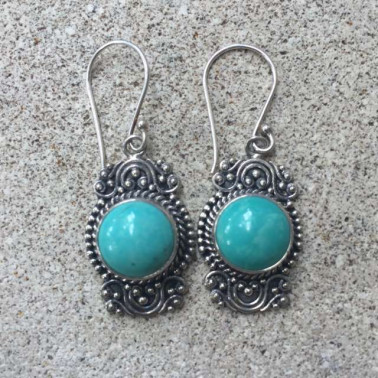 ER 12478 TQ-1 PC OF HAND CARVED 925 BALI SILVER EARRINGS WITH turqouise
