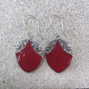 ER 13249 CR-1 PC OF HAND CARVED 925 BALI SILVER EARRINGS WITH CORAL