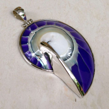 PD 06291 L (Purple)-1 PC OF HANDMADE 925 BALI SILVER PENDANT WITH PURPLE COLOR NAUTILUS SHELL