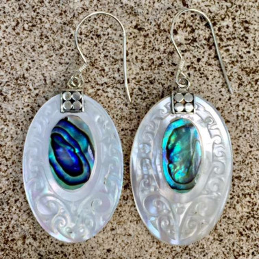 ER 10539 AB-1 pc of hand carved 925 Bali silver earrings with abalone shell