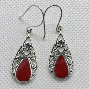ER 14216 CR-BALI 925 STERLING SILVER EARRINGS WITH CORAL