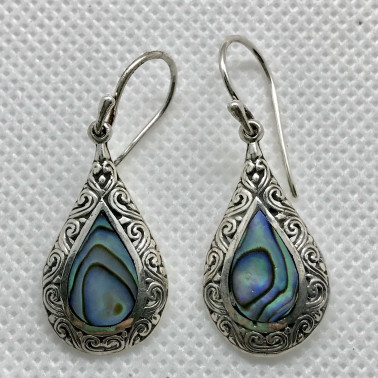 ER 14643 AB-BALI 925 STERLING SILVER EARRINGS WITH ABALONE