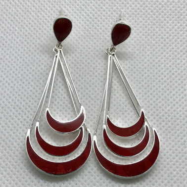ER 14700 CR-BALI 925 STERLING SILVER EARRINGS WITH CORAL