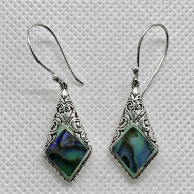 ER 14208 AB-1 PC OF HAND CARVED 925 BALI SILVER EARRINGS WITH ABALONE