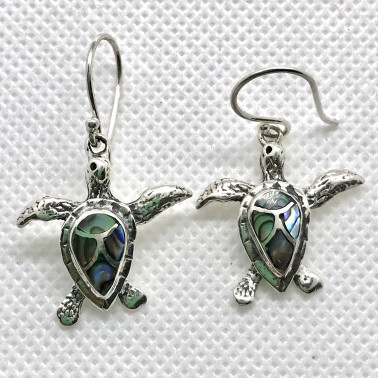 ER 14439 AB-1 PC OF HAND CARVED 925 BALI SILVER EARRINGS WITH ABALONE