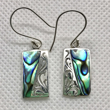ER 07815 AB-1 PC OF HAND CARVED 925 BALI SILVER EARRINGS WITH ABALONE