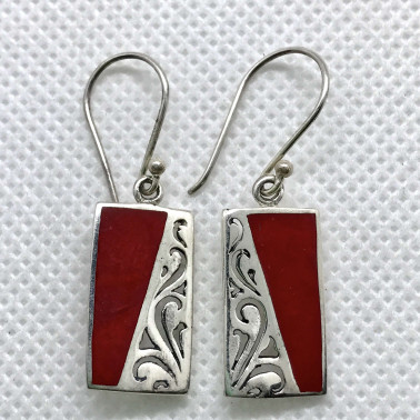 ER 07815 CR-1 PC OF HAND CARVED 925 BALI SILVER EARRINGS WITH CORAL