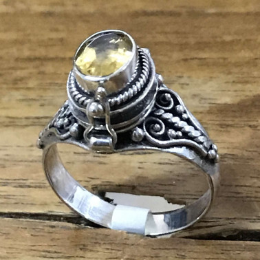 RR 13764 CT-BALI 925 SILVER POISON RINGS WITH CITRINE