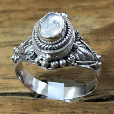 RR 13822 MS-BALI 925 SILVER POISON RINGS WITH MOONSTONE