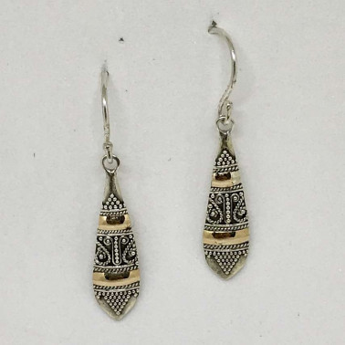 ER 13831 -BALI SILVER EARRINGS WITH 18KT GOLD ACCENT