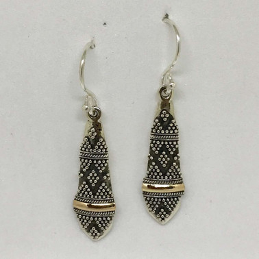 ER 13833-BALI SILVER EARRINGS WITH 18KT GOLD ACCENT