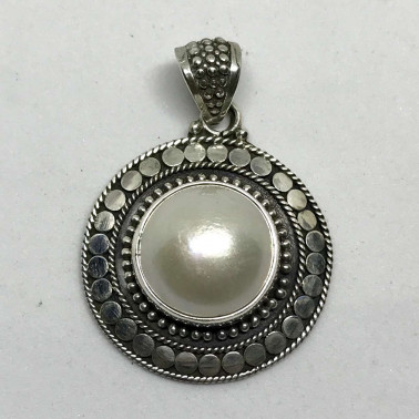 PD 13711 MP-BALI SILVER PENDANT WITH MABE PEARL