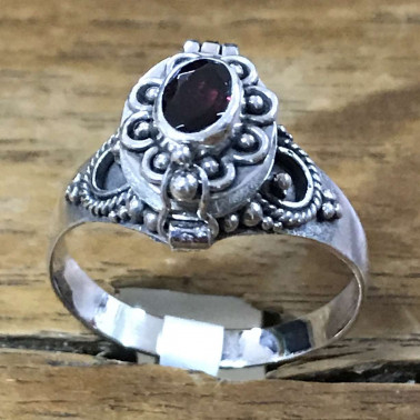 RR 13782 GR-BALI 925 SILVER POISON RINGS WITH GARNET