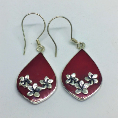 ER 07818 CR-1 PC OF HAND CARVED 925 BALI SILVER EARRINGS WITH CORAL