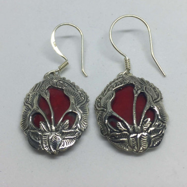 ER 11096 CR-1 PC OF HAND CARVED 925 BALI SILVER EARRINGS WITH CORAL