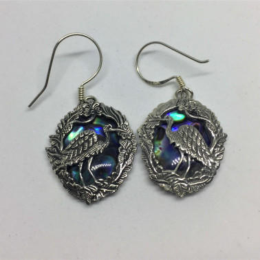 ER 07244 AB-1 PC OF HAND CARVED 925 BALI SILVER EARRINGS WITH ABALONE SHELL
