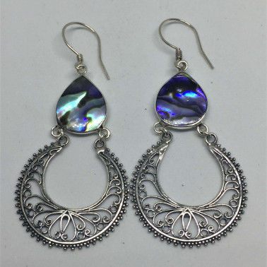 ER 13631 AB-1 PC OF HAND CARVED 925 BALI SILVER EARRINGS WITH ABALONE SHELL