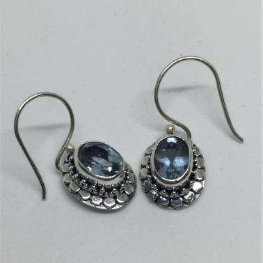 ER 11433 TP-1 PC OF HAND CARVED 925 BALI SILVER EARRINGS WITH BLUE TOPAZ