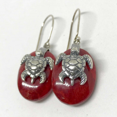 ER 13623 B CR-BALI SILVER EARRINGS WITH RED CORAL