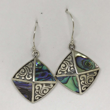 ER 12094 AB-BALI SILVER EARRINGS WITH ABALONE