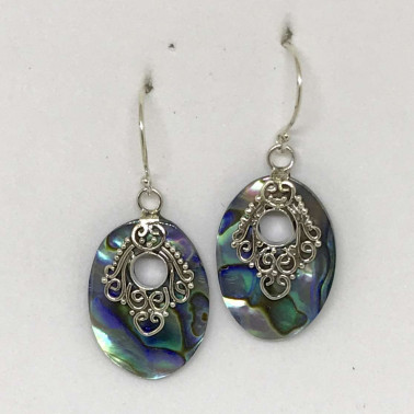 ER 13678 AB-BALI SILVER EARRINGS WITH ABALONE