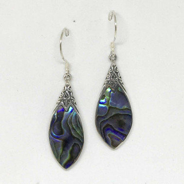 ER 13251 AB-BALI SILVER EARRINGS WITH ABALONE