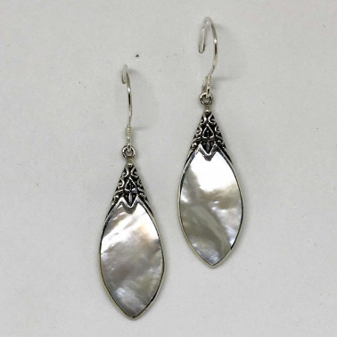 ER 13251 MP-BALI SILVER EARRINGS WITH MOP