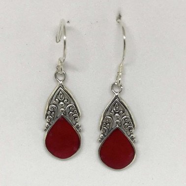ER 13245 CR-BALI SILVER EARRINGS WITH RED CORAL