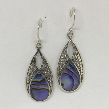 ER 13242 AB-BALI SILVER EARRINGS WITH ABALONE