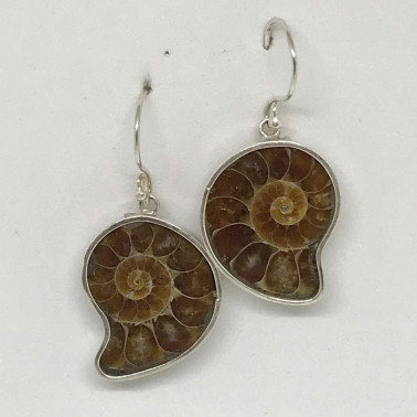 ER 13748-BALI SILVER EARRINGS WITH AMONITE
