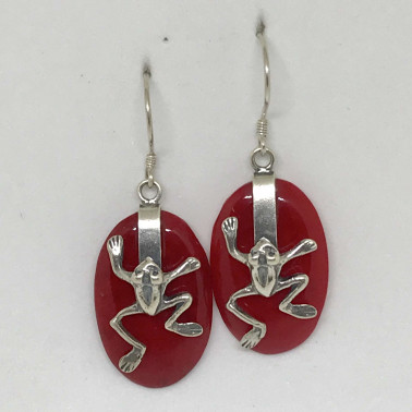 ER 13620 CR-BALI SILVER EARRINGS WITH RED CORAL
