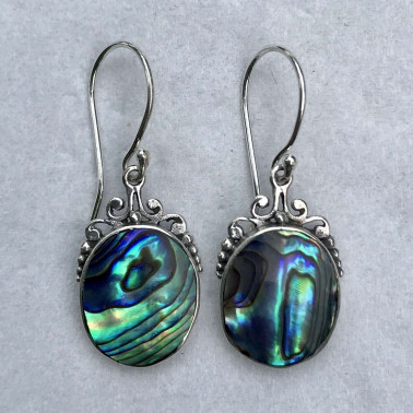 ER 13250 AB-BALI SILVER EARRINGS WITH ABALONE