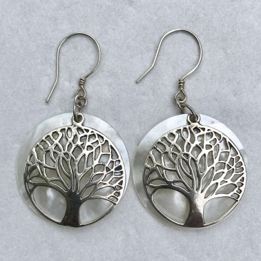 ER 13627 MP-BALI SILVER EARRINGS WITH MOP