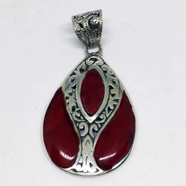 PD 13307 C-1 PC OF 925 HAND CARVED BALI SILVER PENDANT WITH CORAL